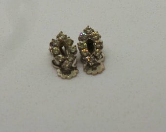 Vintage earrings clip on diamante