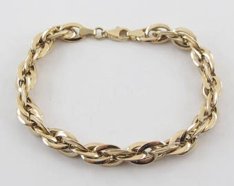 14k Yellow Gold Braided Rolo Link Charm Bracelet 7 1/4 Inches 7.4 grams