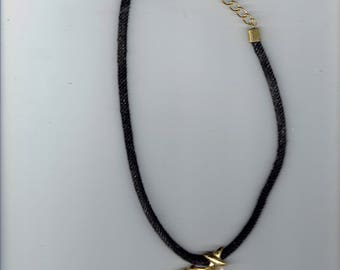black cord necklace with large blue stone 1980