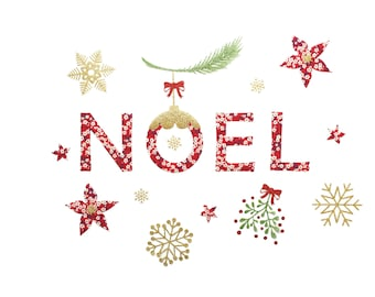 Iron on letters, Noel, patches, ornament, tablecloth, Christmas, applique, snowflakes, stars, poinsettia, red, gold, fabric, sparkle