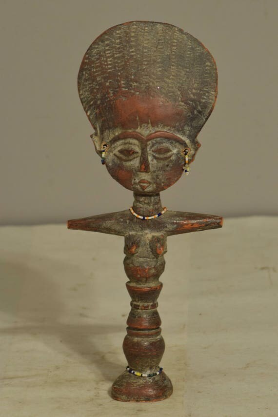 African Doll Fertilityi Female Wood Ghana Handmade Beaded Teaching  Woman Good Luck Health Fertility Doll