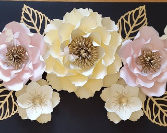 Large paper flower backdrop, Large paper flower decor, Large paper flower wall, Princess themed paper flowers.