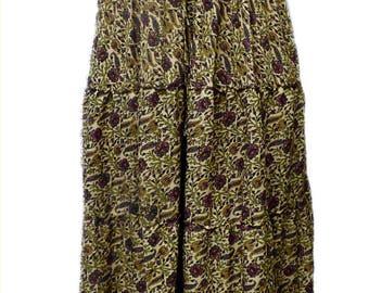 Renaissance Peasant Wench Pirate Faire Women 's Gown Boho Hippie Sun Dress Black Print L/XL