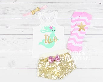 Girls Mermaid Second Birthday Outfit, 2nd Birthday Outfit, Mermaid Tanktop, Girls Two Birthday, 2nd Birthday Mermaid, Sequin Shorts
