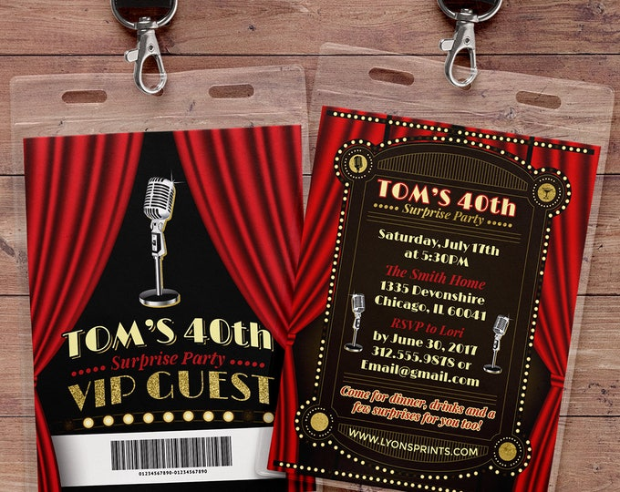 Comedy club VIP invitation, birthday invitation, night out invitation, ticket invitation, Gatsby, Great Gatsby, Roaring 20s, 1920s Party,