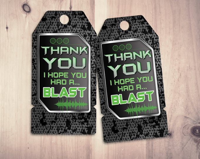 Laser tag party, - thank you tags for game truck or laser tag party - Boys birthday party printable, laser gun, video game, XBOX