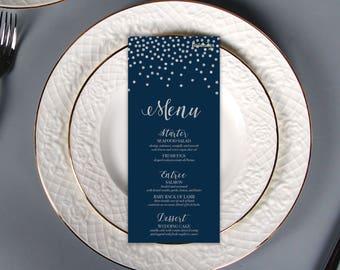 Navy Blue Silver Glitters WEDDING MENU CARDS ⋆ Diy Printable Silver Confetti Wedding Menu Card ⋆ Digital Navy Nautical Wedding Dinner Menu