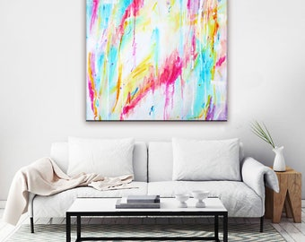 Abstract Art Painting Print, Canvas Wall Art Print, Pastel Drip Painting, Canvas Painting Large White Teal Pink Red, Affordable Art