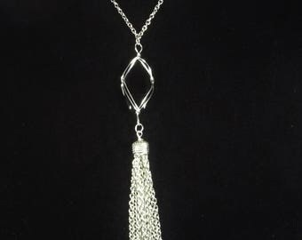 """Tassel necklace with black wire wrapped bead you select length 28""""to 40"""" long chain necklace , stainless steel chain tassel necklace, unique"""