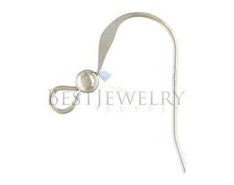 1 Pair 2 Pcs. Sterling Silver .925 Flat With 3mm Ball Bead Ear Wire Earring Findings