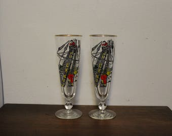 Pair of 1950s Treasure Island Pirate Glasses Libbey Pilsner Beer Glass Compass Rose