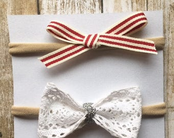 Red bow set/white bow set/bow set/holiday bows/chiristmas bows/infants/toddlers/newborns