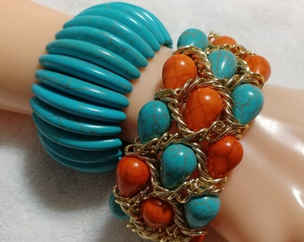 Vintage 2 pc. Turquoise and Orange Veined Stone Stretch Bangle Bracelets