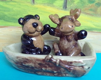 Bear and Moose Friends Salt and Pepper Shakers in a Row Boat