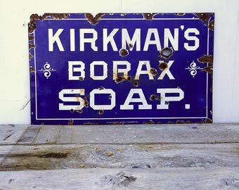 "Kirkmans borax soap porcelain sign 30"" x 18"""