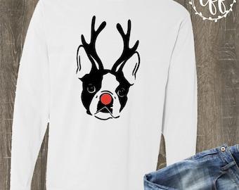 French Bulldog Christmas Tee | Comfort Color Christmas Dog Shirt | Frenchie Reindeer T-shirt | French Bulldog Christmas Shirt | Frenchie Mom