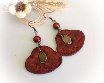 Earrings, boho, ethnic, rustic, aged, leather effect ethnic, tribal, copper.
