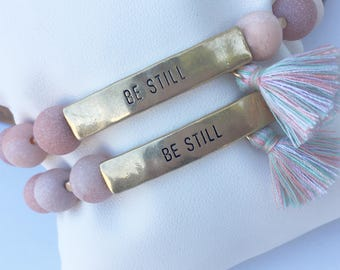 Be still positive message natural stone beaded bracelet