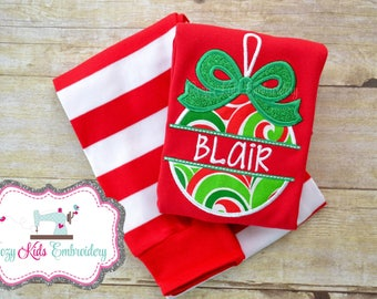 Christmas pajamas, christmas ornament pajamas, boy girl kid child baby toddler infant embroidery applique custom monogram name personalized