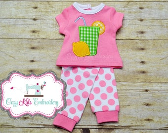 Doll pajamas, Doll Lemonade Pajamas, doll pj, Summer doll pajamas, spring doll pajama, doll pj, applique embroidery, doll pjs, dolly, me