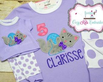 Birthday Pajama, Kitty pajama, Girl Pajama, Kitty Pj, Cat Pajama, Cat PJ, Personalized Pajama, Kitty Applique, Embroidery
