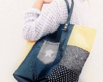 tote bag in black/yellow mustard velvet and tweed Pocket star leather patchwork