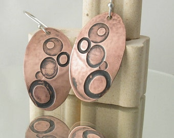Copper Penny Earrings•Circles and Dots•Canadian Copper Penny•Handmade•OOAK•Bubble Earrings•Argentium Sterling Silver•Domed Copper Earrings