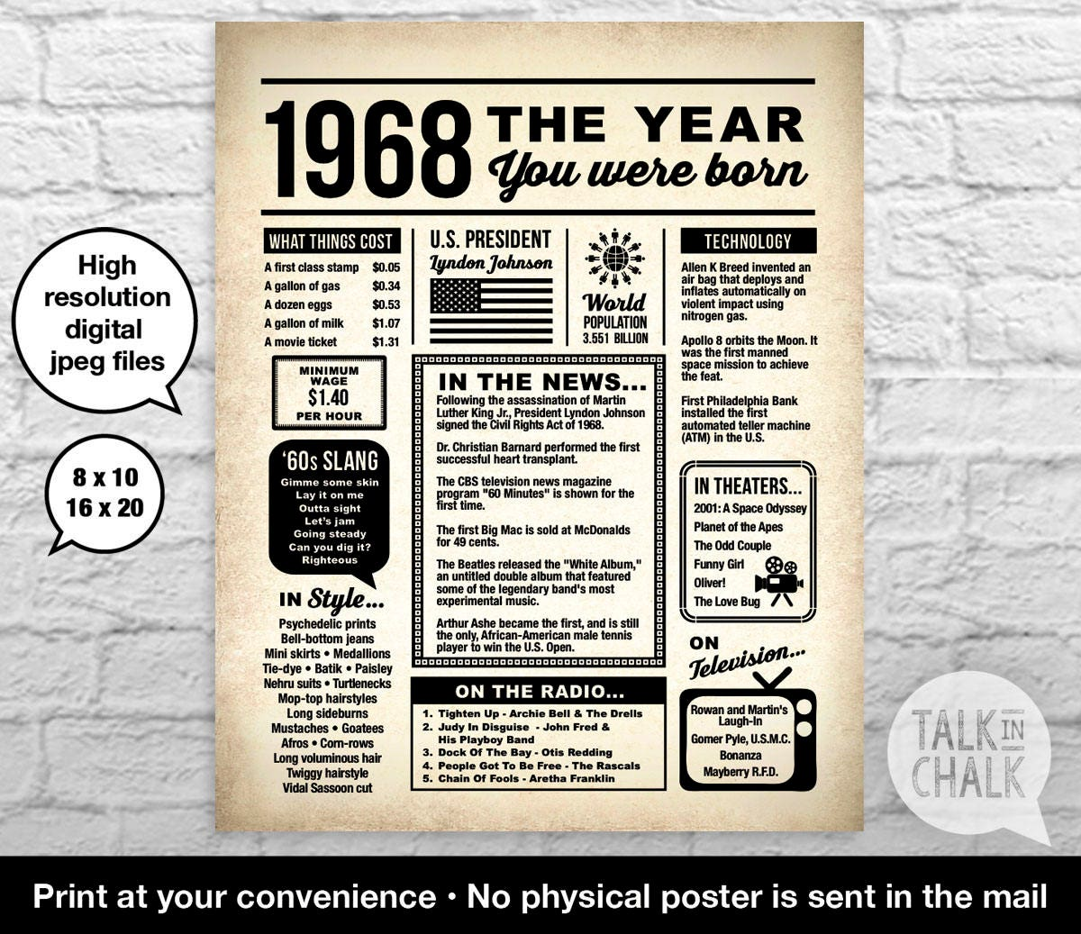photo about Free Printable Birthday Newspaper titled Back again Within just 1968 Newspaper-Layout Electronic Poster, 50th Birthday