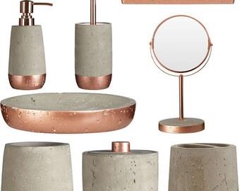 copper and concrete distressed bathroom accessories copper mirror concrete tumbler soap dispenser - Bathroom Accessories Etsy
