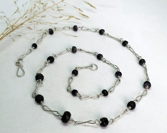 Sterling Silver Necklace of Graded Facetted Sapphire Beads and Infinity Links.
