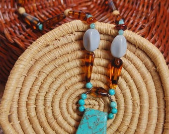 Large, Turquoise, Tiger Beads, Beaded Necklace