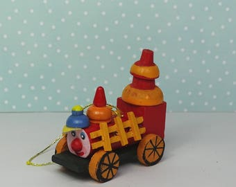 Vintage train Christmas ornament 1970s wooden red yellow