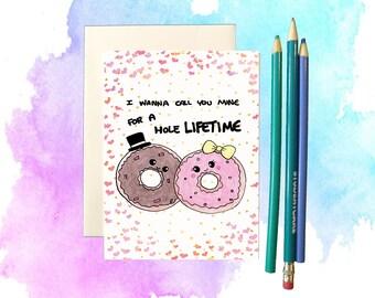 Anniversary card, funny anniversary card, cute anniversary card for him, anniversary gift, donut card, donut pun, foodie pun, food pun card