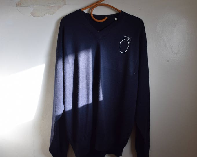 Daia Navy Wool V-Neck Sweater