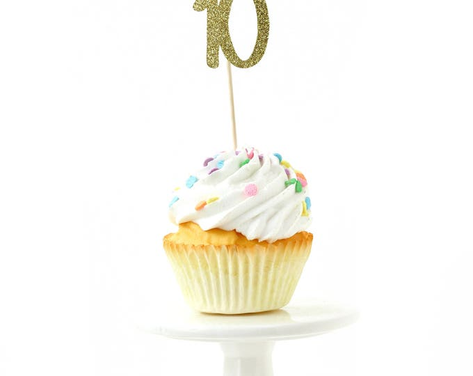 Number 10 Gold Glitter Cupcake Toppers, Number 10 Toothpicks, Gold Party Decor, Food Decoration, Tenth Birthday, 10th Birthday Ten Decor