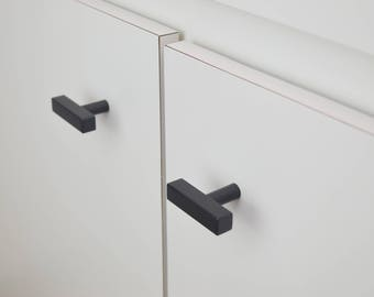 Modern, Square, Black Drawer Knobs, T-Knobs, Drawer Pull, Cabinet Pull, Cabinet Knobs