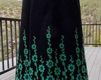 70s SKIRT/ VINTAGE BOHEMIAN Skirt/ Wool Blend Maxi Skirt/ Winter Skirt/ Gypsy Skirt/ Retro Long Skirt/ 60s Skirt/ Floral Border Skirt