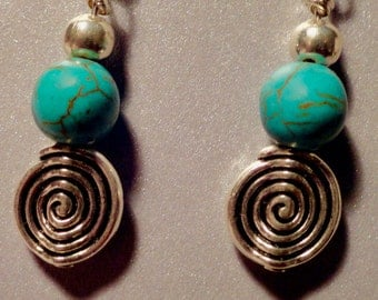Turquoise earring with swirl beads. Turquoise, Turquoise Earrings, Holiday Gift, Turquoise dangling earring, silvertone