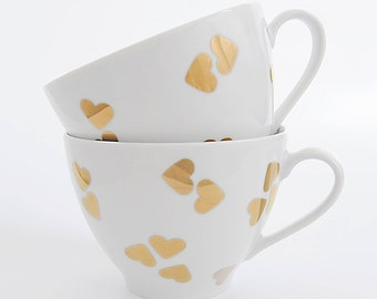 valentine,Cup,mug,porcelain mug,heart,coffee cup, valentine's Day, love,Gift,espresso,cappuccino,heart,gold heart,coffee cup,