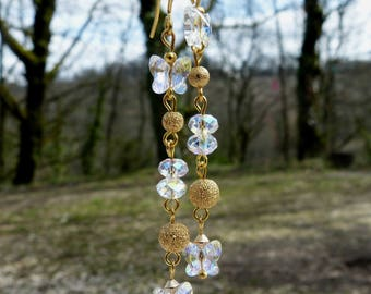 Long earrings gold and transparent with pearls and Swarovski crystal butterflies
