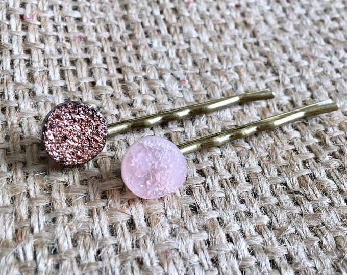 Faux Druzy Hair Pin, Druzy Bobby Pin, Druzy Hair Pin, Raw Druzy Bobby Pin, Raw Druzy Hair Pin, Brown Druzy Hair Pin, Pink Druzy Hair Pin,