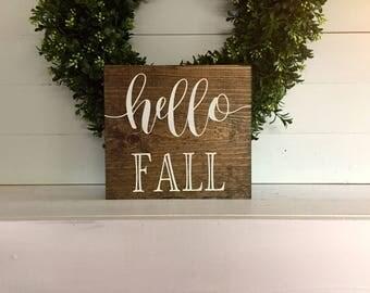 Hello Fall, Hello Fall sign, Wood sign, Custom wood sign, Fall wood sign, fall wood signage, fall sign decor, Autumn wood sign, fall wood