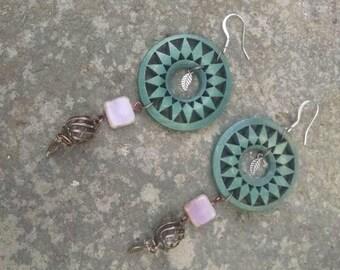Bohemian Dangle Drop Earrings - Wooden Boho Earrings, Mixed Materials Hippie Earrings, Leaf Charms and Czech Glass Beads -  Boho Jewelry