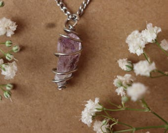 Wire Wrapped Amethyst Crystal Choker, Crystal Healing Necklace, Amethyst Pendant, Zen, Boho