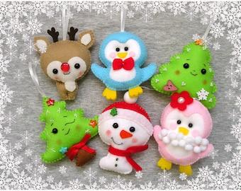 Christmas ornament, felt ornament, christmas tree, cute christmas gift, snowman, deer, reindeer, handmade gift, embroidery