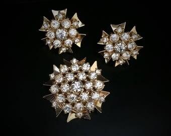 Vintage Rhinestone Brooch or Pendant and Earrings Set, Rhinestones Gold Tone Screw Back Earrings Bridal Wedding Formal Statement Jewelry