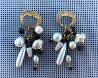 Vintage Dangle Earrings // Black and White Statement Earrings // Pearl and Crystal Dangle // 90s Boho Earrings // Formal Earrings