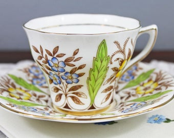 Vintage Rosina Blue Yellow Floral and Brown Leaf English Bone China Teacup and Saucer, Gifts for Her Tea Party
