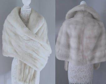 Luxury Vintage White Mink Fur Stole LARGE Mink Cape   Jacket   Shrug   Bolero   Wrap   Shawl    Luxury Wedding    Bride   Auzurene Mink Fur