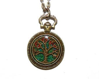 Tree of Life Glitter Necklace Pendant, Pocket Watch Style, Glitter Necklace, Resin, Pocket watch necklace, jewelry # et 631